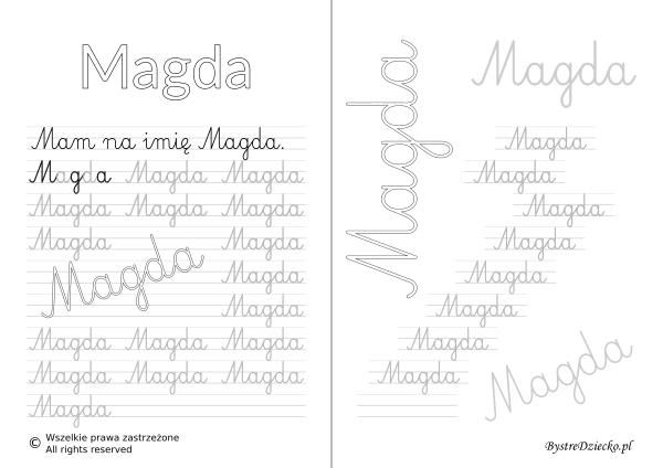Karty pracy z imionami - nauka pisania imion dla dzieci - Magda