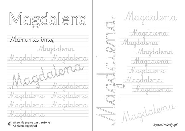Karty pracy z imionami - nauka pisania imion dla dzieci - Magdalena
