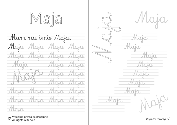 Karty pracy z imionami - nauka pisania imion dla dzieci - Maja