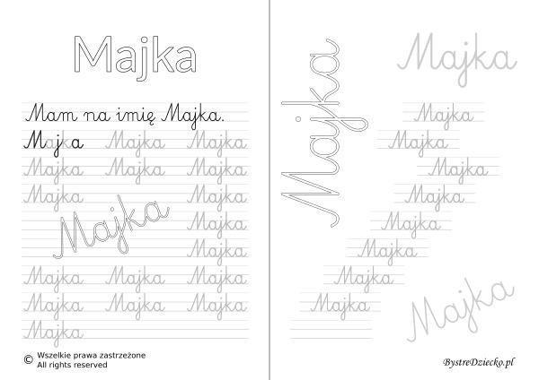 Karty pracy z imionami - nauka pisania imion dla dzieci - Majka