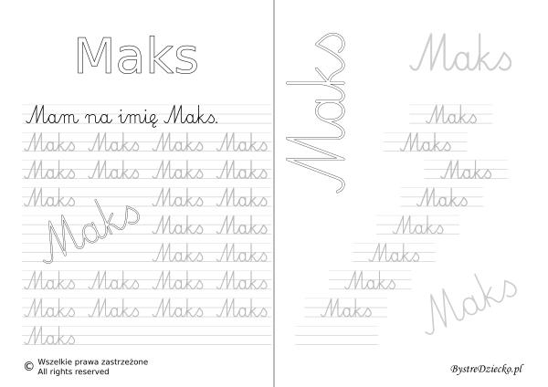 Karty pracy z imionami - nauka pisania imion dla dzieci - Maks
