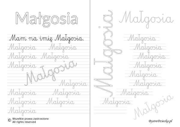 Karty pracy z imionami - nauka pisania imion dla dzieci - Małgosia
