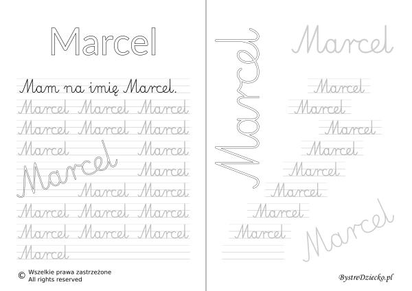 Karty pracy z imionami - nauka pisania imion dla dzieci - Marcel