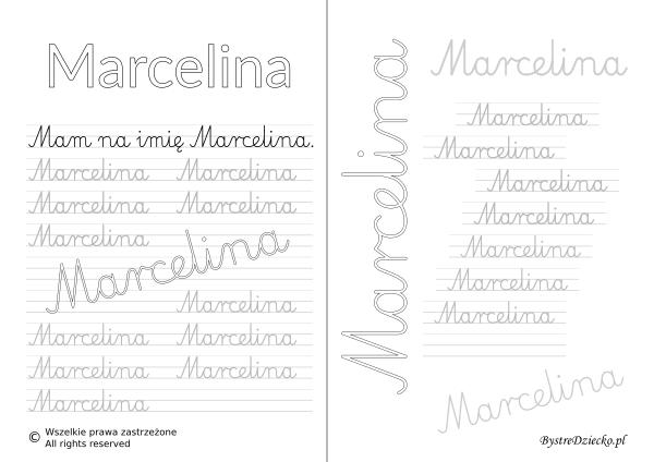 Karty pracy z imionami - nauka pisania imion dla dzieci - Marcelina