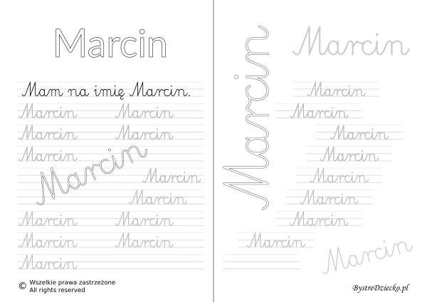 Karty pracy z imionami - nauka pisania imion dla dzieci - Marcin