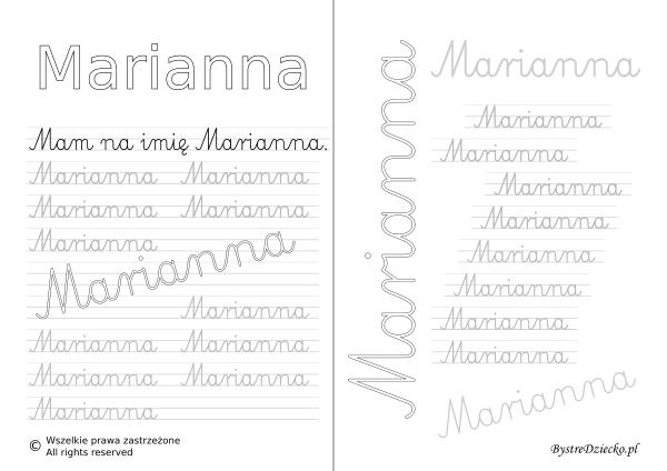 Karty pracy z imionami - nauka pisania imion dla dzieci - Marianna
