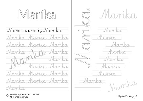 Karty pracy z imionami - nauka pisania imion dla dzieci - Marika