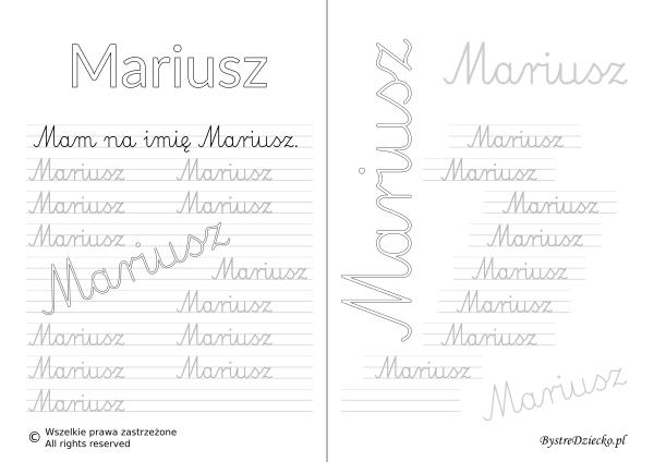 Karty pracy z imionami - nauka pisania imion dla dzieci - Mariusz