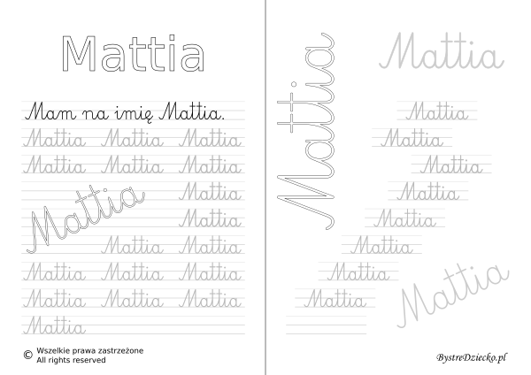 Karty pracy z imionami - nauka pisania imion dla dzieci - Mattia