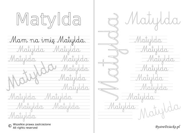 Karty pracy z imionami - nauka pisania imion dla dzieci - Matylda