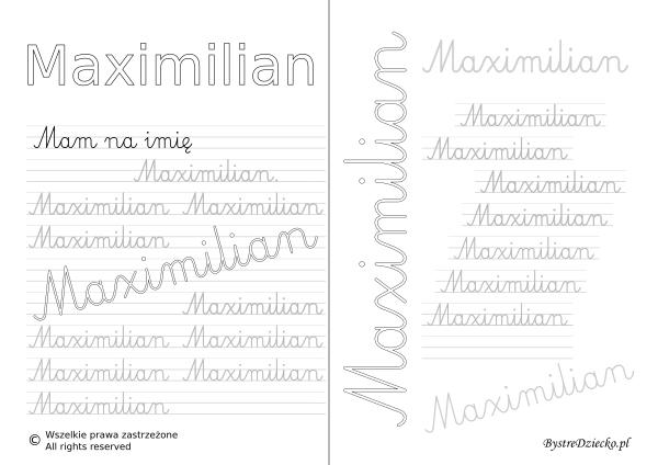 Karty pracy z imionami - nauka pisania imion dla dzieci - Maximilian