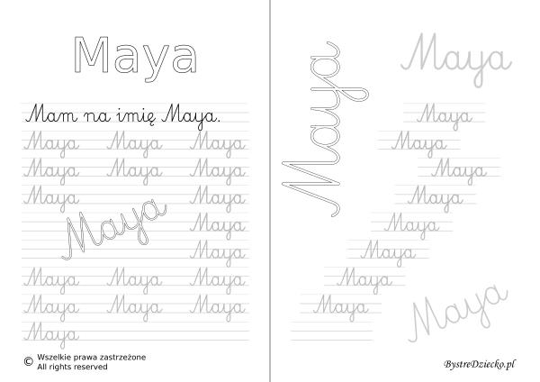 Karty pracy z imionami - nauka pisania imion dla dzieci - Maya