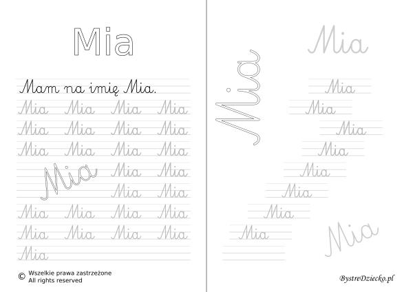 Karty pracy z imionami - nauka pisania imion dla dzieci - Mia