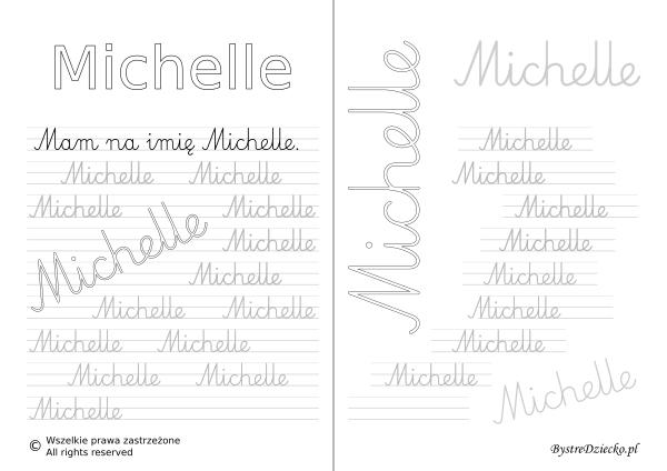 Karty pracy z imionami - nauka pisania imion dla dzieci - Michelle
