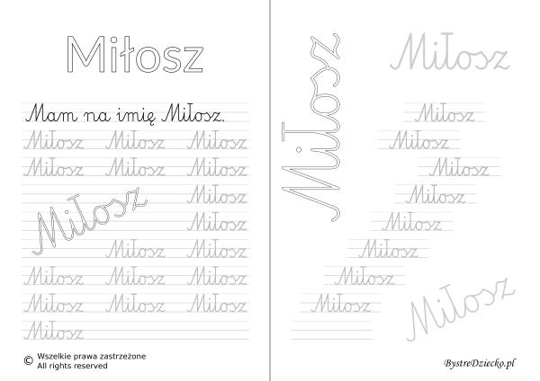 Karty pracy z imionami - nauka pisania imion dla dzieci - Miłosz