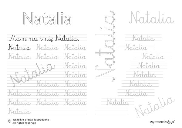 Karty pracy z imionami - nauka pisania imion dla dzieci - Natalia