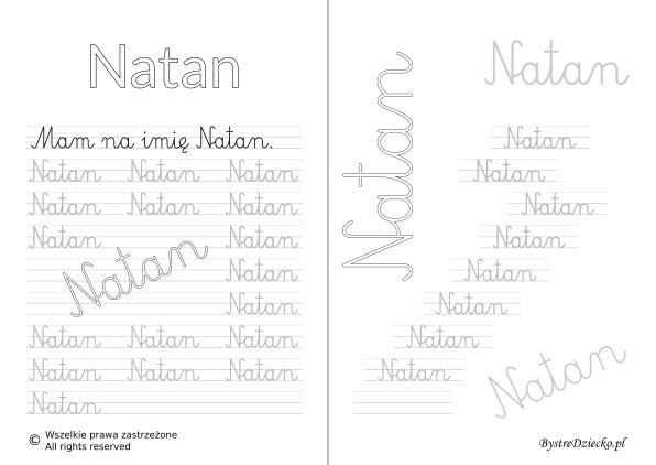 Karty pracy z imionami - nauka pisania imion dla dzieci - Natan