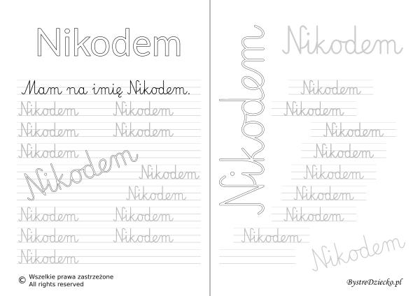 Karty pracy z imionami - nauka pisania imion dla dzieci - Nikodem
