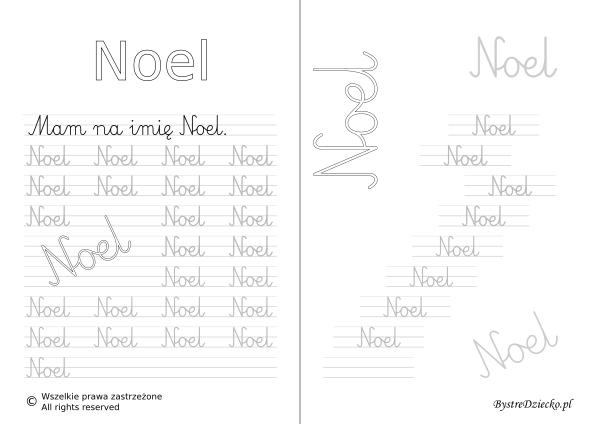 Karty pracy z imionami - nauka pisania imion dla dzieci - Noel
