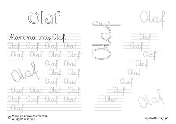 Karty pracy z imionami - nauka pisania imion dla dzieci - Olaf