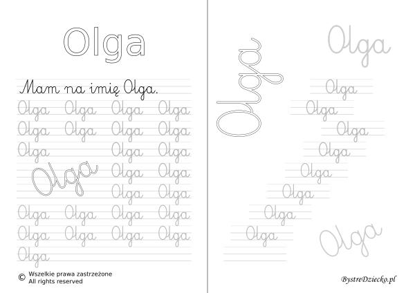 Karty pracy z imionami - nauka pisania imion dla dzieci - Olga