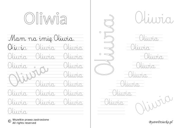 Karty pracy z imionami - nauka pisania imion dla dzieci - Oliwia