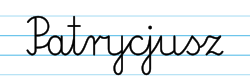 Karty pracy z imionami - nauka pisania imion dla dzieci - Patrycjusz