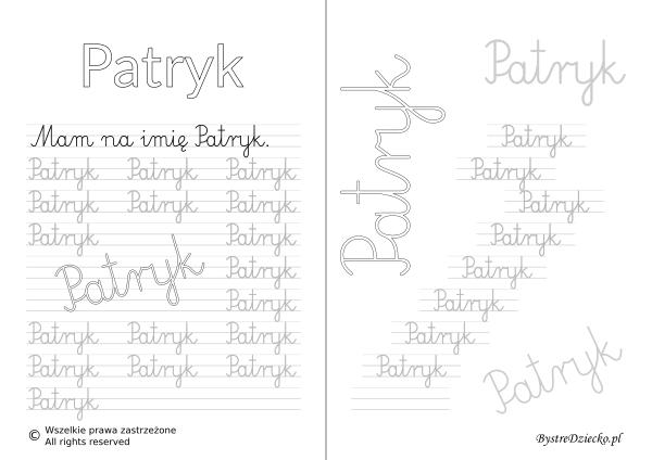 Karty pracy z imionami - nauka pisania imion dla dzieci - Patryk