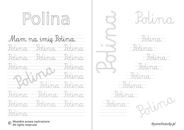 Karty pracy z imionami - nauka pisania imion dla dzieci - Polina