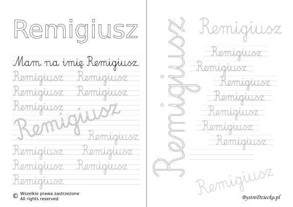 Karty pracy z imionami - nauka pisania imion dla dzieci - Remigiusz