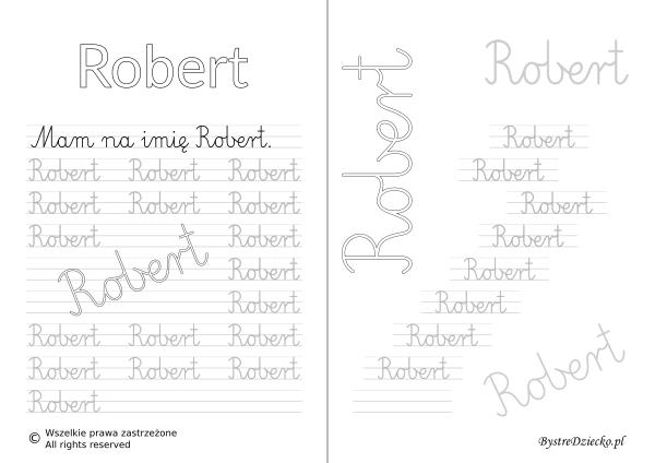 Karty pracy z imionami - nauka pisania imion dla dzieci - Robert