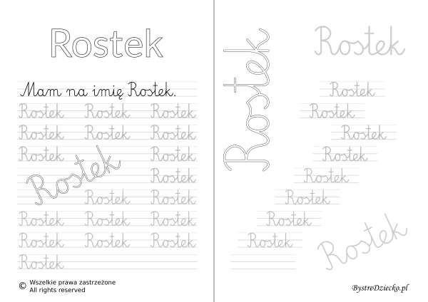 Karty pracy z imionami - nauka pisania imion dla dzieci - Rostek