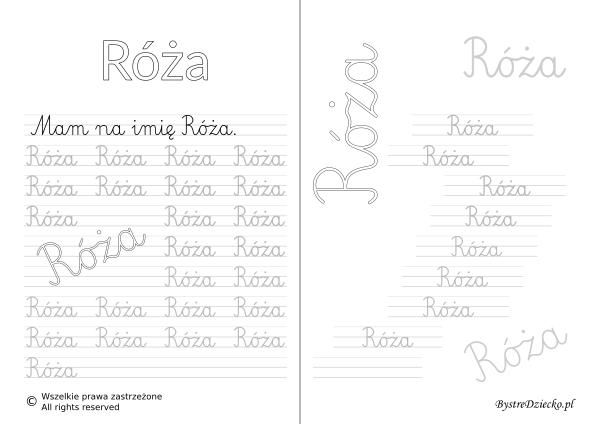 Karty pracy z imionami - nauka pisania imion dla dzieci - Róża