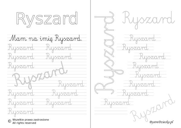 Karty pracy z imionami - nauka pisania imion dla dzieci - Ryszard