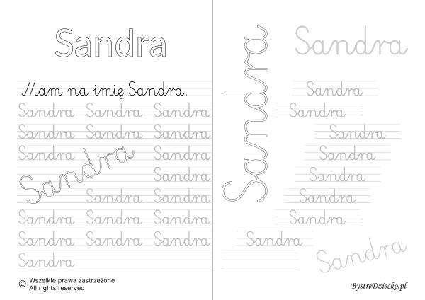 Karty pracy z imionami - nauka pisania imion dla dzieci - Sandra