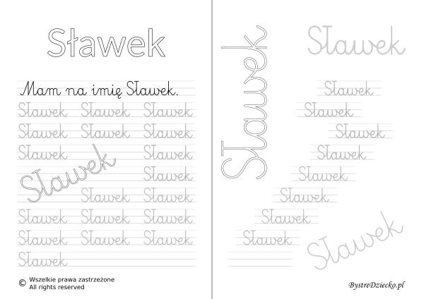 Karty pracy z imionami - nauka pisania imion dla dzieci - Sławek