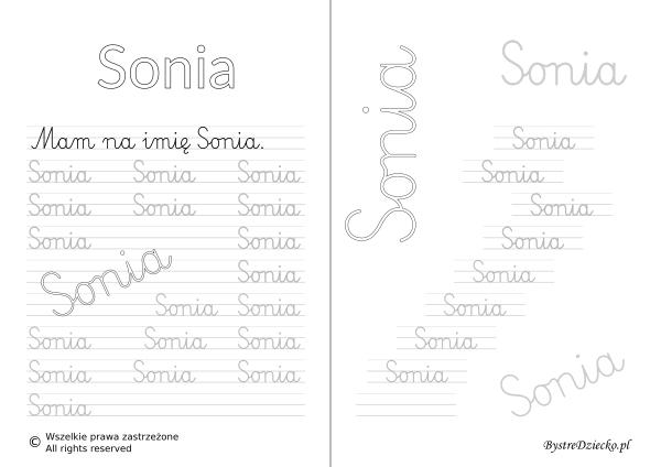 Karty pracy z imionami - nauka pisania imion dla dzieci - Sonia