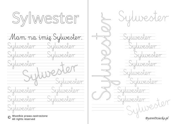 Karty pracy z imionami - nauka pisania imion dla dzieci - Sylwester