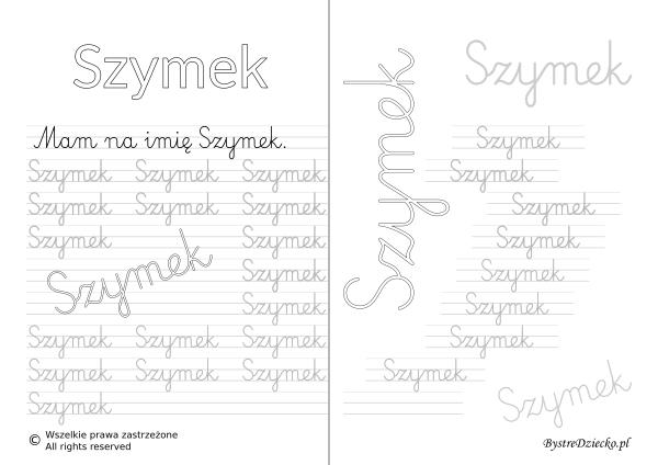 Karty pracy z imionami - nauka pisania imion dla dzieci - Szymek