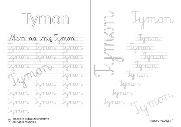 Karty pracy z imionami - nauka pisania imion dla dzieci - Tymon