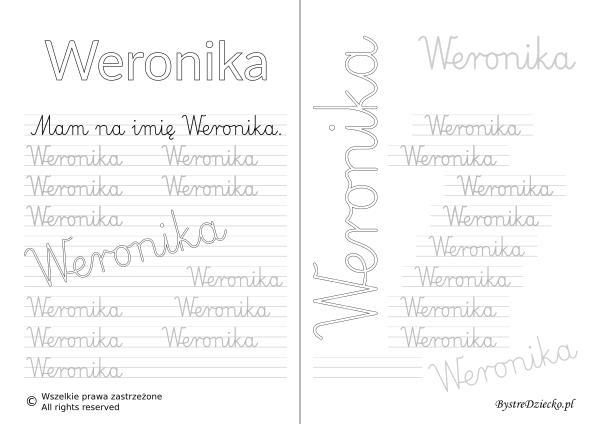 Karty pracy z imionami - nauka pisania imion dla dzieci - Weronika