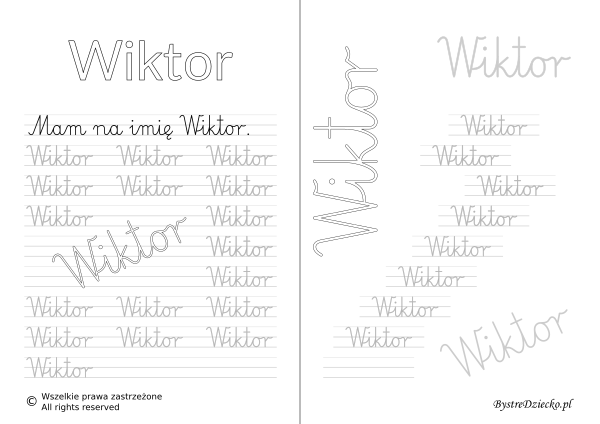 Karty pracy z imionami - nauka pisania imion dla dzieci - Wiktor