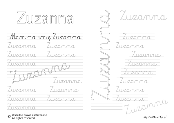 Karty pracy z imionami - nauka pisania imion dla dzieci - Zuzanna