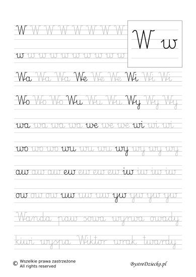W - nauka pisania sylabami - karty pracy dla dzieci