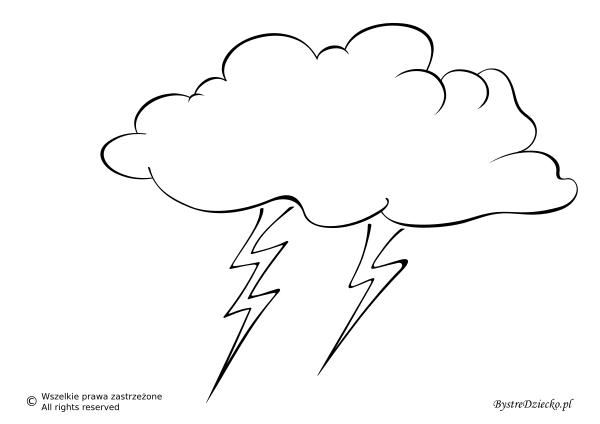 Pogoda burzowa jako szablon wycinanki dla dzieci - burza kolorowanka