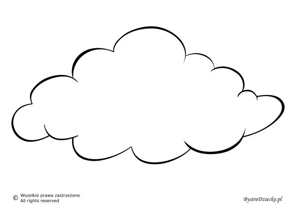 Pogoda pochmurna jako szablon wycinanki dla dzieci - chmura kolorowanka