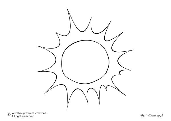 Pogoda słoneczna jako szablon wycinanki dla dzieci - słońce kolorowanka