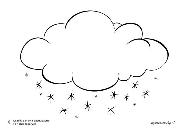 Pogoda śnieżna jako szablon wycinanki dla dzieci - chmura śniegu kolorowanka