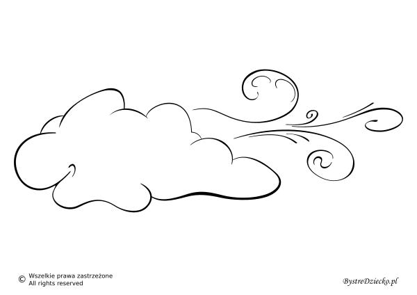 Pogoda wietrzna jako szablon wycinanki dla dzieci - wiatr kolorowanka