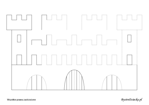 Castle picture tracing worksheets for kids